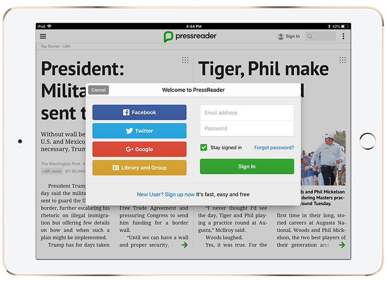 Free Sign Up – PressReader Care